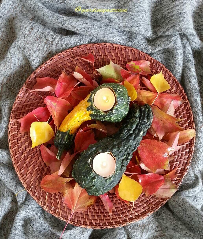 Foglie, zucche e candele, una decorazione autunnale