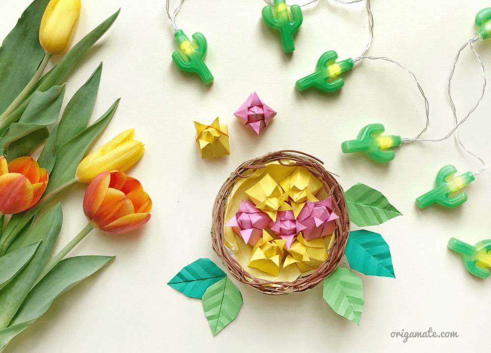 Origami tutorial: cestino di tulipani di carta