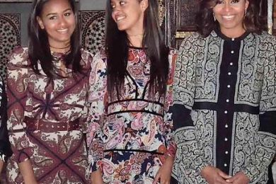 US First Lady Michelle Obama and her daughters Sasha and Malia Obama visit Morocco