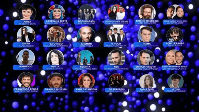 Gli artisti in gara di Sanremo 2019