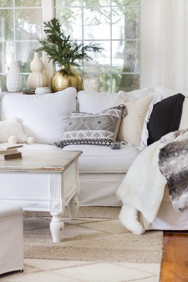 decorazione invernale in soggiorno